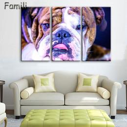 Posters perros online-3 unids Pintura de la Lona de Pared Cuadros para Niños Habitación Modular Pinturas Murales Decoración para el hogar Posters and Prints Dog Art
