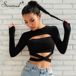 2020 black cut out t shirt Simenual Cut out Loch Fliege T-Shirts für Frauen 2018 Art und Weise Street Baumwolle Herbst T-Shirt slim sexy hot black female T-Shirt Y200109 günstig black cut out t shirt