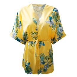 Vestido curto fino e magro on-line-Mulheres sexy gola impressão longo chiffon dress dress manga curta cintura fina v calças justas floral