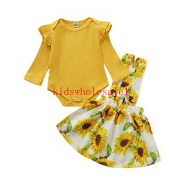 chapéus bola de futebol Desconto 2PCS Toddler Baby Girls Autumn Clothes Sets Yellow Cotton Knit Romper Tops Sunflower Strap Dress Outfits
