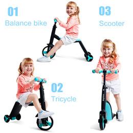 Scooter boy on-line-3 em 1 Crianças Kick Scooter Kickboard + Tricycle + Equilíbrio de bicicleta Passeio de Criança Em Toy Boy Menina Scooter Ajustável Presente de Aniversário Da Criança