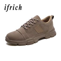 3ca67f95ab Homens Jovens Sapatos Casuais Marrom Preto Sapatos de Caminhada Dos Homens  Sola de Borracha Não-Slip Masculino Casual Sneakers Confortável Trabalhando  para