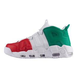 2019 venda de botas de futebol frete grátis Venda barato Air More Uptempo Mens tênis de basquete Tri-Color O que o Reino Unido Itália Doernbecher Red Suede Black Gold White Formadores de trigo