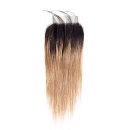 mongolian fechamento de seda de cabelo encaracolado profundo Desconto Fechamento superior do laço de LEDON 4x4, Stragiht natural, em linha reta de seda, ST, cor 1B / 27, densidade 130%, extensões 100% remy do cabelo humano, 1 parte