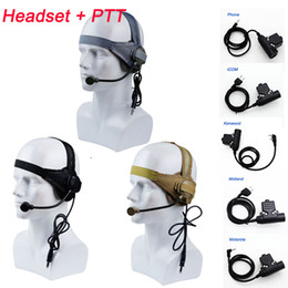 Auriculares tácticos online-CS Tacitcal Gear Paintball Shooting Headphone Auricular táctico Airsoft Shooting Combat Gear Auricular táctico con PTT NO15-013A