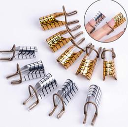 Manicure francês dicas ponta unha on-line-20pc Nail Art C Curvo Forma Guia de Extensão Dicas Francês Foil Acrílico Polonês Gel UV Design Formulário Reutilizável Metal Mold Manicure Ferramenta
