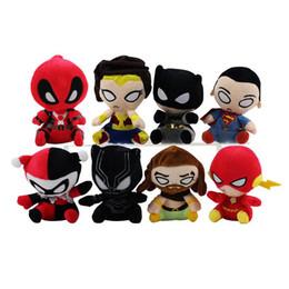 poupées superman Promotion Peluches Vengeurs 13cm Superman Batman Peluches Flash Black Panther Quin Wonder Femme Sea King Super Hero Poupées en Peluche