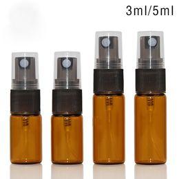 Pulverizador de 5 ml online-Botella de vidrio ámbar 3ml 5ml 10ml Botellas de pulverizador con pulverizador de bomba de niebla fina negra para aceites esenciales Perfumes Botellas de aromaterapia 600 piezas