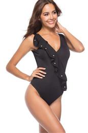 2020 aprire indietro un pezzo swimwear Progettista delle donne Estate sexy Costume intero con scollo a V aperto indietro increspato del bikini Swimwear aprire indietro un pezzo swimwear economici