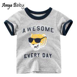Tshirt di stampa animale online-Amya Baby 2019 Estate Toddler Boy magliette per bambini Tshirt Cartoon Animal Print Cotone Ragazzi T Shirt Casual Bambini Top Tees Camicie