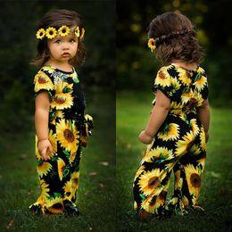 Девочки подсолнечника ползунки новорожденный цветок печати комбинезоны 2019 летняя мода бутик детская одежда от