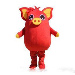 2019 venda quente porco amarelo porco vermelho mascote partido traje jogo adulto dress parade animal de aniversário de Fornecedores de vestido vermelho porco