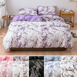 patterned duvets Promo Codes - Marble Pattern Bedding Sets Duvet Cover SetSingle Queen King Size Comforter Sets Bed Quilt Cover Flat Sheet Pillowcases