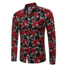 Vestido vintage 4xl on-line-Moda Vintage Floral Imprime Mens Camisas de Vestido de manga Longa Slim Casual impressão Flores Camisas Sociais Masculina Man Marca Roupas
