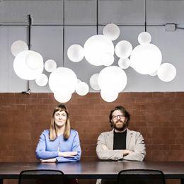 Fiamma di bolla di vetro online-Lampadario a sfera di vetro Creativo Soap Bubble Hanglamp Sala da pranzo Ristorante Lustres Flesh Moderno Luminaria Glass Lighting Fixture
