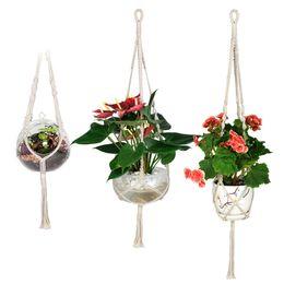 Piante in vaso da patio online-Eco-Friendly Wituse 3x Macrame gancio della pianta di cotone fatta a mano corda appesa Patio Giardino Delle Piante carrello Pot Hanger Per la casa Giardino