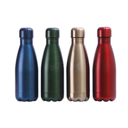 adult bottle Promo Codes - 350ml Cola Shaped water bottle Double wall Coke Stainless steel tumbler Vacuum Insulated Travel Sport Thermos Coke Cup Mug LJJA2926