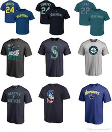 Mlb de beisebol on-line-2017 MLB SEATTLE MARINHOS 24 Ken Griffey Jr. 15 yle Seager 22 Robinson Cano qualquer personalizado Nome e Número Logotipo BASEBALL T-Shirt