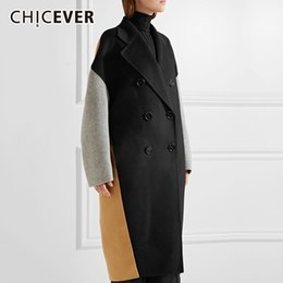 xs mujer abrigo largo coreano Rebajas CHICEVER Hit Colors Abrigos para mujer Solapa femenina Manga larga suelta Abrigo cruzado Moda coreana Ropa elegante Nuevo
