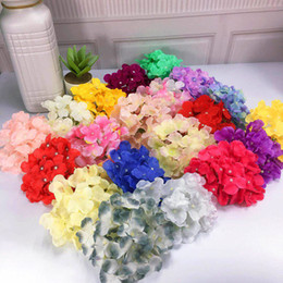 bouquets lights Promo Codes - 18CM 21Colors 50pcs Artificial Hydrangea Silk Flower Head For Wedding Flowers Wall ArchDIY Hair Flower Home Decoration accessory props