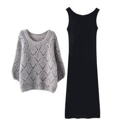 vestiti da maglione midi Sconti Donna 2 Pezzi Nuovo Donne set di abito da maglioni Alta Moda Autunno Inverno 2019 o collo Abiti casual maglioni a maglia Top