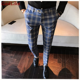 flew dresses Promo Codes - New 100% High Quality Plaid Pant Formal Wedding Mens Slim Fit Suit Pants Fashion Casual Brand Straight Dress Trousers