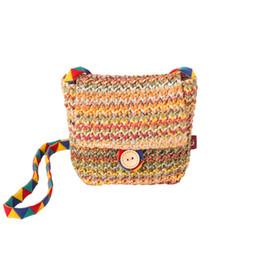 Monederos lindos hechos a mano online-Hecho a mano Kids Staw Messenger Bag Colorful Coin Purse Bag Spring Vintage Girls Pequeño Mini bolso de solapa Lindo Rayado Crossbody bolsa