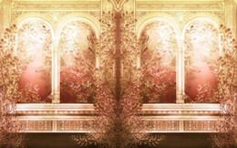 Tapetenspalten online-Europäische pastorale Blumen römische Säule 3D-Hintergrund Wand moderne Wohnzimmer Tapeten