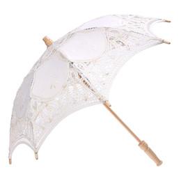 Деревянное кружево онлайн-Lace Wooden handle Sun umbrella Wedding decoration props