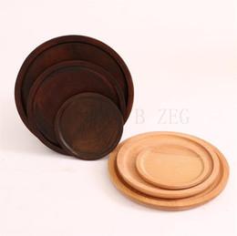 2020 bandejas de te de madera Los platos redondos sólidos plato de fruta de madera Pan bandeja de té de madera placa platillo postre pan cena japonesa bandejas de te de madera baratos