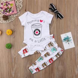 Helado de bebe online-Baby Boy Girl Carta Romper Ice Cream Top + Pantalones largos Leggings + Diadema Outfit Kids Coffee Set de ropa