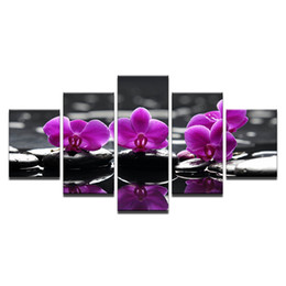 Orquídeas flores pinturas on-line-Unframed Canvas HD Imprime Fotos Para Sala de estar Decoração de Casa 5 Peças Spa Pedras Orquídea de Traça Flores Pinturas Arte Da Parede cartaz