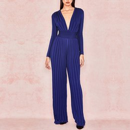 1dd317451c6e ADYCE 2019 Summer Women Bandage Jumpsuit Rompers Celebrity Runway Party Jumpsuit  Sexy V Neck Blue Long Sleeve Bodycon Bodysuits
