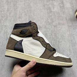 2019 zapatos de gamuza alta Nuevo lanzamiento 1 High OG Travis Scotts Cactus Jack Suede Dark Mocha TS SP 3M Zapatillas de baloncesto Hombre Mujer 1s Zapatillas Con Caja zapatos de gamuza alta baratos