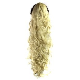 парики для наращивания волос Скидка 65cm Long Wavy Wigs Clip-in Curly Claw Jaw Ponytail Clip In Hair Extensions Wavy Hairpiece High Density Temperature Synthetic