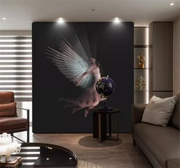 Argentina Custom Any Size 3d Wallpaper Nostálgico Europeo Blanco y Negro Desnudo Ángel Interior Porche Fondo Decoración de Pared Mural Wallpaper supplier nude black wall Suministro