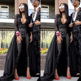 Combinaison de soirée noire en Ligne-2019 robes de bal noir sexy superbe combinaison soir porter des manches longues paillettes perlée avec détachable train personnalisé fait