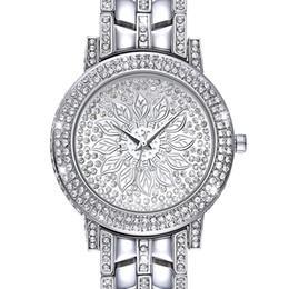 Каменные часы для женщин онлайн-New Full Crystals  Ladies Watch Wrist Bracelet Watches for Women Stones Dial Christmas Gift free drop shipping