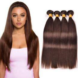 28 polegadas tecer cabelo castanho on-line-Dark Brown cabelo humano direto feixes 4 peças brasileiras bundles de cabelo tecer brasileiros pacotes cabelos lisos coloridos envio gratuito de 10-26 polegadas