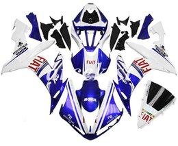 2020 kit carenado yamaha r1 morado Moldeo por inyección de nuevo ABS llena de la motocicleta de carenados Fit Kit para YAMAHA YZF-R1 2004 2005 2006 04 05 06 Ajuste del blanco carrocería de color púrpura kit carenado yamaha r1 morado baratos