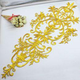2019 patch di fiori d'oro Iron On Gold Appliques Costume cosplay fiore Patch di moda Ricami di abbigliamento ricamati Oro e argento 58cm * 27cm sconti patch di fiori d'oro