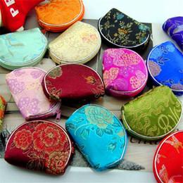 Sacos de compras de seda on-line-Atacado brocado pequeno semi-círculo bolsa de seda bolsa de moeda bolsa de moeda pequena loja de presente de presente