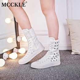 109e10324 MCCKLE Mulheres Casuais Planas Bezerro Botas Plus Size Lona Feminina Lace Up  Zipper Sapatos Vulcanizados Plataforma Senhoras Oco Respirável à venda