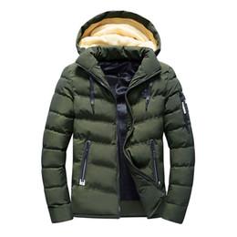 2018 Winterjacke Herren Parkas Herren Herbst Winter Reine Farbe Tasche  Öffnen Sie einen Hut Reißverschluss Kapuzenjacke Mantel Warm Mäntel Parka b29f895d50