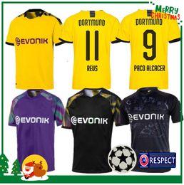 Crianças borussia on-line-19 20 Dortmund REUS home Jerseys 2019 2020 camisa Borussia SCHURRLE HUMMELS GOTZE adulto homem mulher crianças kit camisa esporte calções de guarda ...