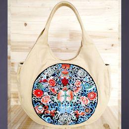 chinese bordado bolsas Desconto Flor nacional Bordado Bolsa de Ombro Pequeno Top Handle Étnica Chinês handBag Chinês Lazer Crossbody saco de Viagem mensageiro