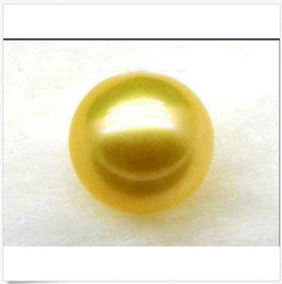 Sciolto perle gialle online-enorme AAA12mm Natural Loose Top Golden Yellow South Sea perla rotonda semiaperta
