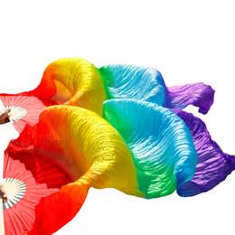 2019 fans de danse du ventre Ventilateur de danse du ventre 100% soie véritable / voile imitation voile de haute qualité pure soie naturelle 1 paire fait à la main teinté fans de voile voile fans de danse du ventre pas cher
