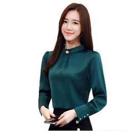 c68f214a90476 Women Shirts Blouse OL Women Tops and Blouses Casual Silk Long Sleeve Shirts  For Woman Korean Spring Female Blouse Top Plus Size