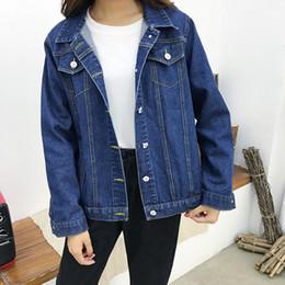 2019 chaqueta de mezclilla de la universidad 2019 Denim Coat Autumn Jeans Jacket Mujer Mujer Chaqueta Mujer Streetwear Boyfriend Chaquetas básicas para Harajuku Clothes College chaqueta de mezclilla de la universidad baratos